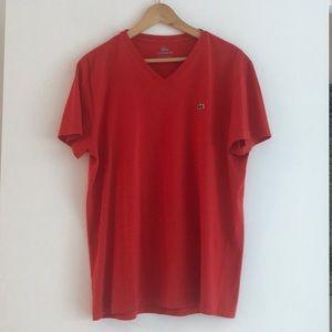 Red Lacoste V Neck, never worn!